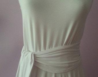 White dress. Bamboo dress. Summer dress. Full circle skirt.