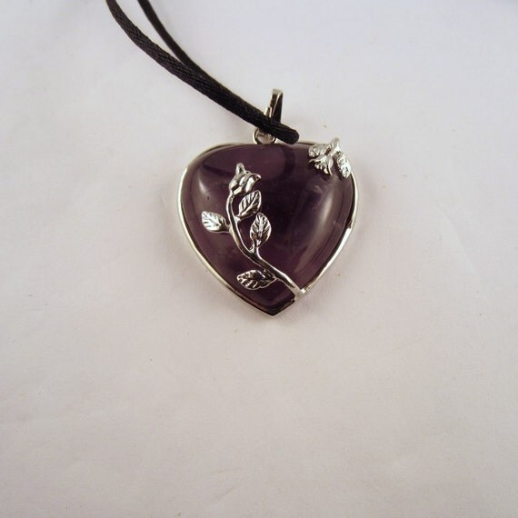 amethyst Rose Necklace: Natural Crystal Pendant, Stone Jewelry