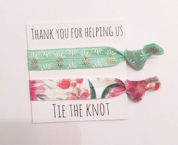 Bridesmaid hair tie favors//green pineapple teal floral//party favor//bridesmaid gifts//hair tie card