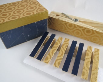 Clothespins and Storage Box Gift Set, Gold and Navy Blue Desk Accessories, Small Storage Box, Organization,