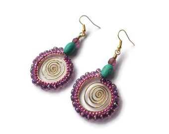 Gold Spirals Earring Embellished with Czech Seed Beads in Brick Stitch, Turquiose and Glass Faceted Rounds,  Hammered and Textured
