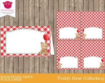 Instant Download Teddy Bears' Picnic Food Tent Cards/Place Cards