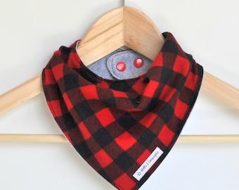 Funky Baby Bandana Bib - Red Lumberjack