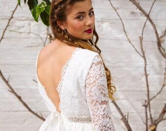 Audrey Dress. Luna organic. Lace Short Wedding Dress. Indie. 60s.