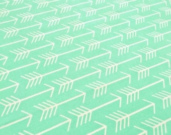 Cool Mint Geo Arrow Fabric - 100% Cotton Geometric White Arrow on Cool Mint Quilting Fabric by the Yard