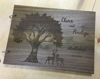 Wedding Guest Book,  Guest Book Alternative, Unique Wedding Guestbooks, Deer Guest Book - Engraved & Personalized For You!