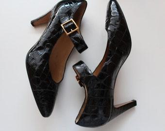 Holt Renfrew Heels | vintage leather Mary Jane heels | size 9