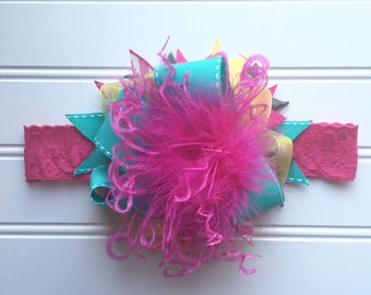 Over the Top OTT hot pink, turquoise, yellow feather bow headband