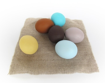 Wooden SMALL EGGS - 6 Easter eggs-Pretend Play - Play Food-Waldorf - Montessori Toddler Toy - Natural Toy