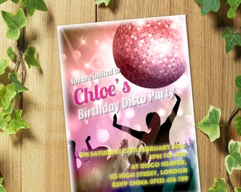 20 Personalized DISCO Birthday Party Invitations Invites + Envelopes for Girls or Boys