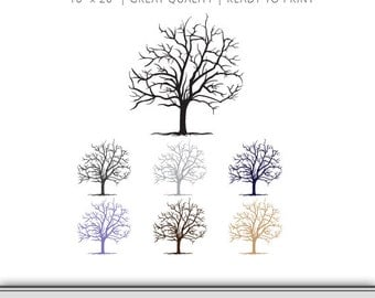 "Digital Art - Tree - Finger Print Tree - Wedding Shower - Wedding Guest Book - Family Tree - Ready To Print - 16"" x 20"""