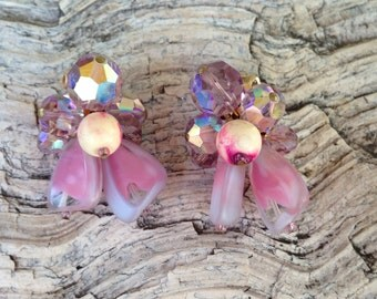 Vintage Pink Art Glass with faceted AB beads, Wood Bead Earrings 0271
