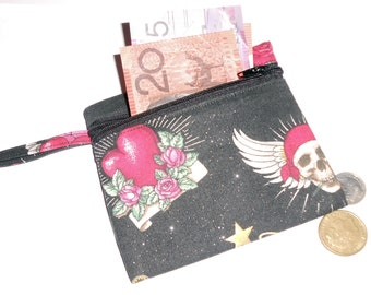 Tattoo Icons on Black Glitter Coin/Card Purse - Lined FREE POSTAGE