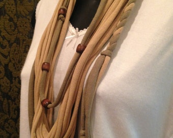 Light olive & Khaki tshirt necklace with braid and beads