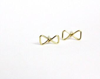 ORIGINAL Gold Bow Studs/ Stud Earrings /Minimalist Jewelry/ Bow Earrings