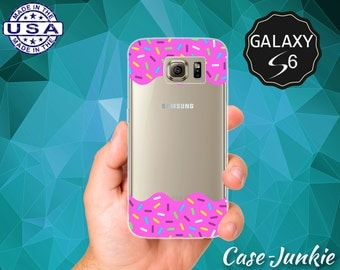 Pink Frosting Sprinkles Rainbow Icing Tumblr Inspired Cute Case for Clear Rubber Samsung Galaxy S6 and Galaxy S6 Edge Galaxy S7 and S7 Edge