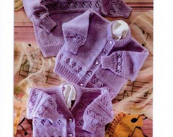 "Vintage Baby Girl Knitting Pattern PDF Instant Download Sweater Cardigan 16-22"" Newborn - 2 years DK"