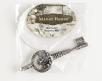 Skeleton Key, Antiqued Silver, Elephant design, Steampunk, 67x20mm, 1 each, D867