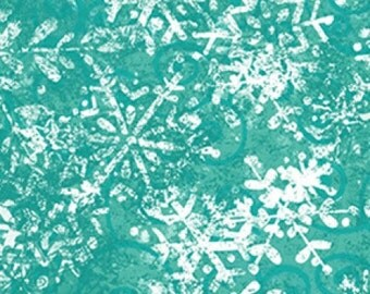 Frosty Fun Fabric Collection - Teal Tonal Snowflake Fabric by Sue Zipkin for Clothworks Fabrics - Listed by the Half Yard