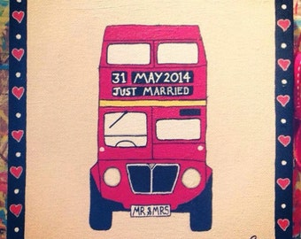 Just married london bus canvas