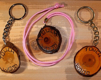 TouchWood 74  His/Her Set of Key-Chains & 1 Uni-Sex Brown Leather Necklace