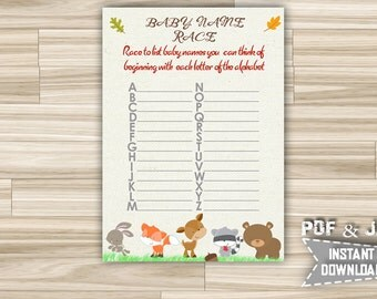 Printable Baby Name Race Game with Woodland animals - Baby Shower Alphabet Name Game with Forest Animals - Instant Download - w1