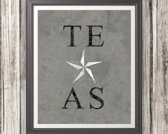 Texas With Lone Star in Middle Print Wall Art Decor Photo Print