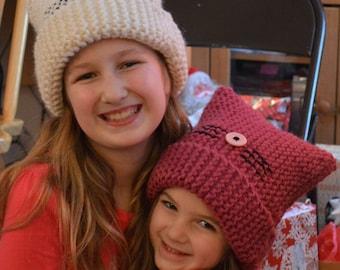 Kids Kitty Knit Hats