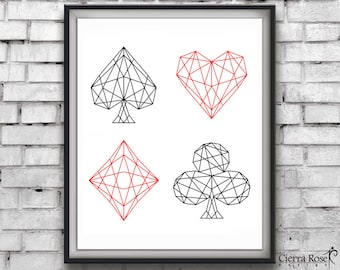 Playing Cards, Card Suits, Geometric Print, Diamond, Spade, Heart, Club, Playing Card Print, Modern Art, Geometric Pattern, Gambling, Poker