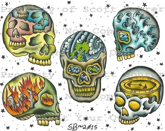 2015 Traditional Skull Tattoo Flash Sheet