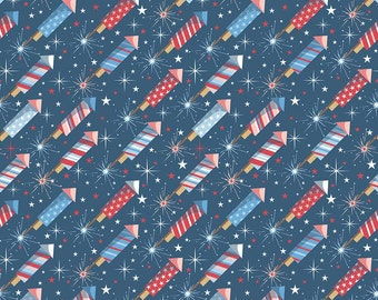 Rockets Fireworks on Navy Blue Cotton Fabric from Parade on Main Collection by Samantha Walker for Riley Blake Designs per FQ per metre