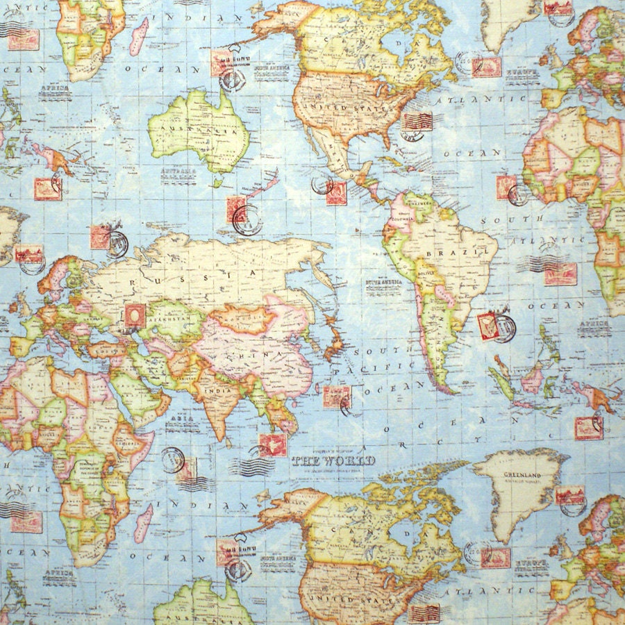 Atlas World Map Blue Travel Upholstery Weight Cotton Fabric