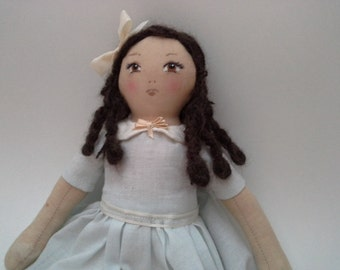 Dark Hair Cloth Doll, Brown Eye Cloth Doll, OOAK Handmade, Cloth Doll, Fabric Doll, Hand Painted Face, Yarn Hair Doll, Doll Decor