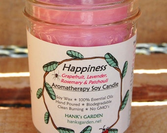 HAPPINESS Aromatherapy Soy Candle-100% Pure Essential Oil blend of Grapefruit, Lavender, Rosemary & Patchouli- ECO Friendly Cotton Wick