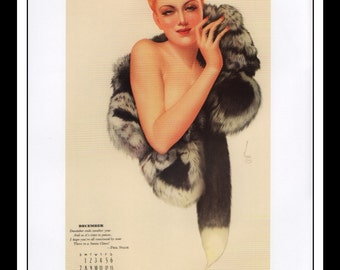"Alberto Vargas Vintage Pinup Illustration Sexy Pinup Calendar December 1941 Dbl Sided Mature Wall Art Deco Book Print 9"" x 11 3/4"""