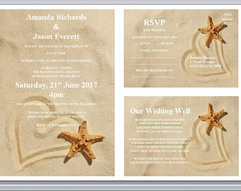 Heart Sand Starfish Editable Printable Beach Wedding Invites, Engagement Invitation Template Download Set RSVP, Wishing Well or Info Card