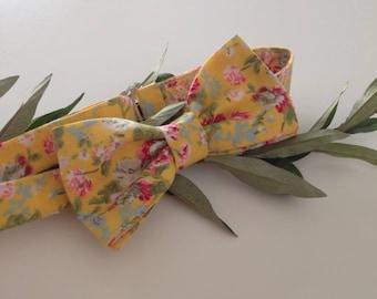 bow tie pre tied liberty BowTie, BowTie yellow, flowery bow tie, bowtie