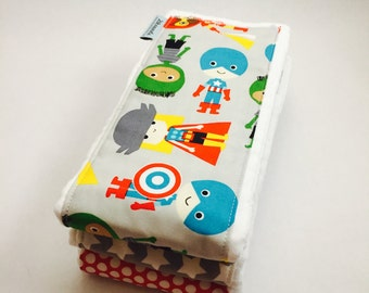 Super Hero Burp Cloths - Set of 3 Coordinating Baby Boy Burp Cloths