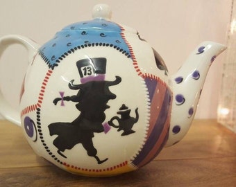 Hand Painted Alice In Wonderland Themed English Teapot - 4 Cup Ceramic Teapot - Tea Lover Gift