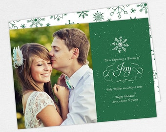 24 HOUR TURNAROUND, We're Expecting a Bundle of Joy Cards, Holiday Pregnancy Announcements, Christmas Pregnancy Announcement Card, DIY Cards