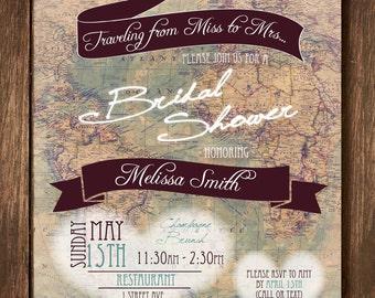 Travel Theme Bridal Shower Invitation - Custom Digital Copy