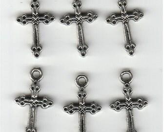 6 Petite Silver Tone Crosses - Protestant or Catholic