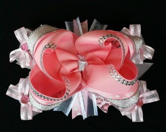 "6"" Pink, Gray and Silver over the top Stacked Boutique hair bow with Bling"