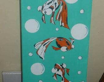 GoldFish, fish, bubbles, OOAK, painting, wall decor, bathroom decor,