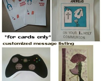 Customized card message for inside card.