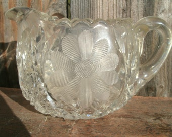 Vintage Cut Glass Matching Sugar and Creamer bowls