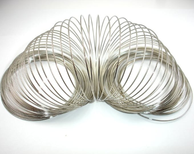 Memory Wire, Silver Tone, Bracelet Making, 55mm Diameter, 100 loops, 0.6 mm thick (006875001)