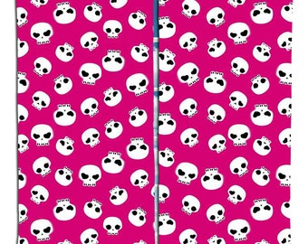 Pink and White Skulls Curtain Panels from Skull Bedding Designs
