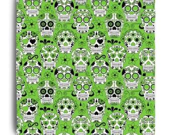 Green Sugar Skull Sheets from Skull Bedding Designs