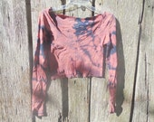 One of a kind cropped bleached shredded Navy crop long sleeve t shirt medium deep V post apocalyptic grunge